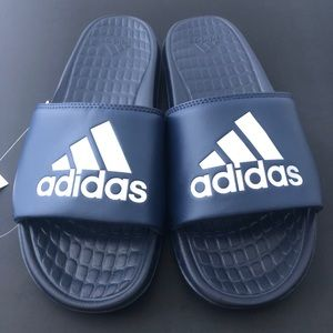 New adidas vloomix slides sz 10 navy and silver